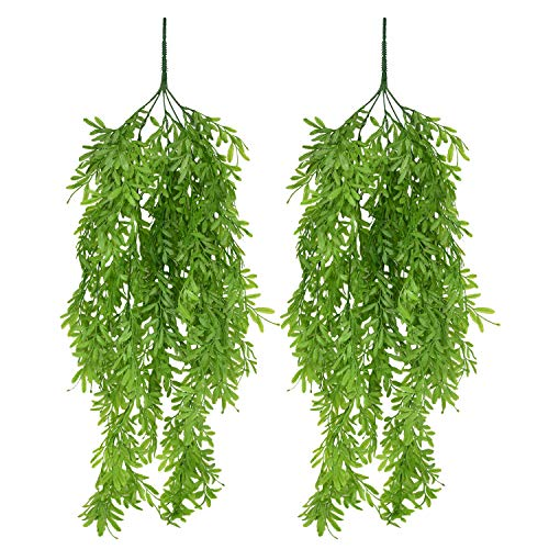 Sunm boutique Artificial Willow Artificial Vine Greenery Garland Green Leaves for Home Garden Outdoor Wall Decoration -