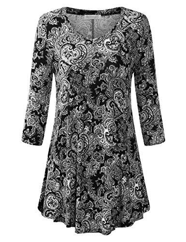 BaiShengGT Women's 3/4 Sleeves Printed V-Neck Flare Tunic Top Medium Black Paisley