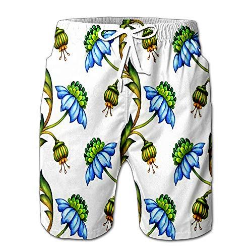 Floral Medieval Watercolor Blue Flowers and Gr Men Swimwear Volley Pants Pocket M