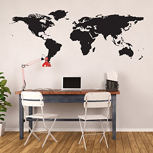Amazon black world map wall decal easy to apply modern large amazon black world map wall decal easy to apply modern large earth mural vinyl atlas graphic wall decoration art for kids room nursery gumiabroncs Choice Image