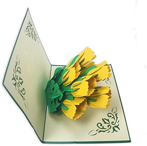tulipani gialla 3D Biglietto di San Valentino con fiori pop up
