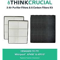2 Crucial Air HEPA Air Purifier Filters & 8 Odor...