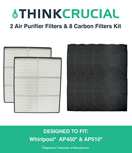 2 Crucial Air HEPA Air Purifier Filters & 8 Odor Neutralizing Carbon Pre Filters; Fits Whirlpool Whispure Air Purifier Models AP350, AP450, AP510 & AP51030K; Compare to Filter Part # 8171434K, 1183054, 1183054K, 1183054K Large, 1183054K Grand Format