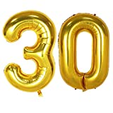 Langxun 40inch Gold Foil Number 30 Balloons for 30th Birthday Party Supplies Decorations and Photo Booth Props