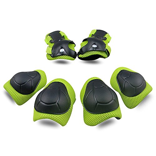 Kids Protective Gear SKL Knee Pads for Kids Knee and Elbow Pads with Wrist Guards 3 in 1 for Skating Cycling Bike Rollerblading Scooter (Green, [Upgraded Vistion 3.0])