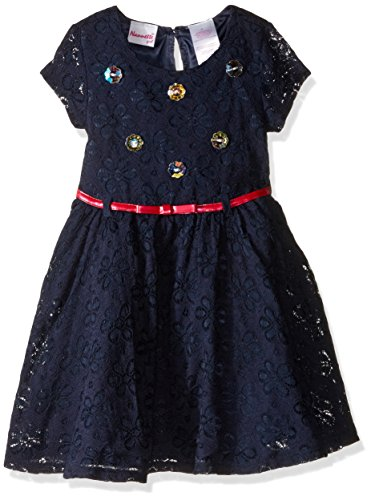 Rhinestone Bodice (Nannette Little Girls' Lace Dress with Rhinestone Bodice Belt, Navy, 6X)