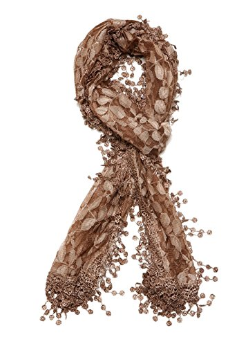 Cindy and Wendy Lightweight Soft Leaf Lace Fringes Scarf shawl for Women,Brown,One Size
