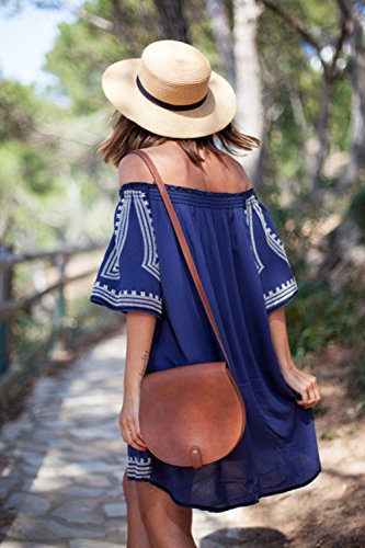 Frauen Aus Schulter Locker Beachwear Vertuschung Mini - Kleid Blue One Size