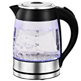 Family Home 1.8 Liter High Borosilicate Glass Electric Kettle with LED Illumination (Black)