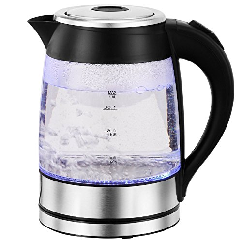 Family Home 1.8 Liter High Borosilicate Glass Electric Kettle with LED Illumination (Black)