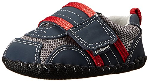 pediped Originals Adrian Sneaker (Infant),Navy/Grey/Red,Large (18-24 Months)