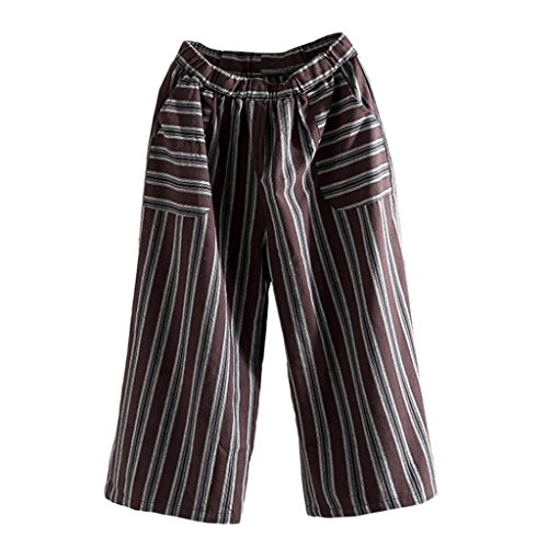 Women's Capris Trousers,Wide Leg Culottes Loose Striped Elastic Cropped Boho Pants by-NEWONESUN