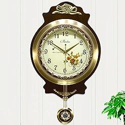 HCJGZ JCRNJSB European Style Living Room Wall Clock Modern Antique Mute Brass Creative Swing Wall Pastoral Table Wall-mounted suspension Clocks Wall Clocks Quart (Color : #2)