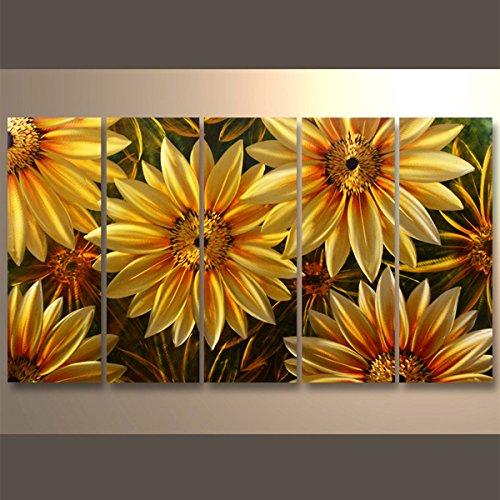 【現代アート工房】 メタルアート 現代絵画 立体感のあるモダンアート ハンドメイド作品 ナチュラルライン ひまわりA 2FMA-520 30×80cm-5 B01NBV0XYV ひまわりB ひまわりB
