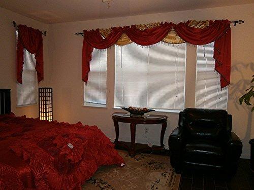 (OctoRose Royalty Custom Waterfall Window Valance Swags & Tails, Window Curtain Set, Curtain Panel (Wine, 5pcs-132x47+66x37x3) )