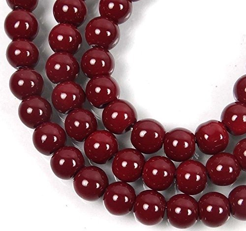 - 50 Czech Glass Round Beads - Maroon / Amaranth 6mm