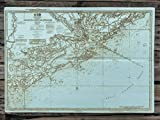 Charleston Harbor and Approaches wood engraved map