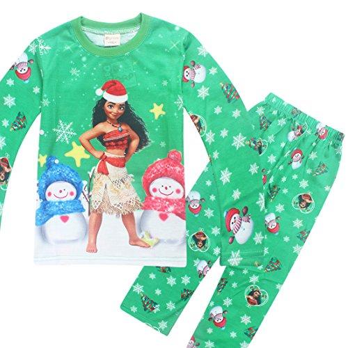 Price comparison product image 2-Piece Top & Bottom Childrens Kids Girls Santa Moana Christmas Pajama Set (9-10 Years (TagSZ 140), Green)