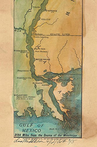 Great River Arts Father of Waters 1887 Mississippi River, Mississippi River map, Hand Painted map, Mississippi River Print, Vintage map (4x38 Inches)