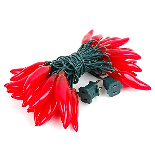 FMH - Red Chili Pepper String Lights, 14.5 Feet Long, 22 Gauge Green Wire, 120 V, Constantly Lit or Intermittent Flashing - Indoor/Outdoor - from Furnish My Homestead ()