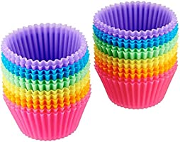 AmazonBasics Reusable, Silicone, Non-Stick Baking Cups Liners
