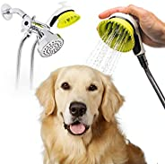 Wondurdog Quality Dog Wash Kit for Shower with Splash Guard Handle and Rubber Grooming Teeth. Indoor and Indoo