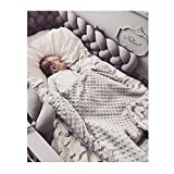 Crib Bumpers for Cribs with Attached Changing Table Infant Soft Pad Braided Crib Bumper Knot Pillow Cushion Cradle Decor for Baby Girl and Boy (Grey, 118
