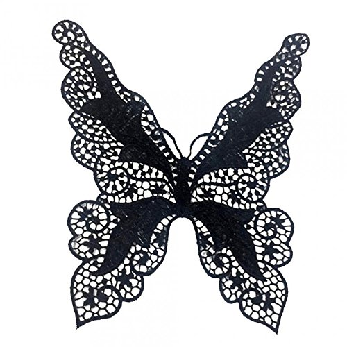 MagiDeal Butterfly Embroidery Neck Collar Lace Trim Clothes Sewing Applique Decoration - Black, 34x21cm