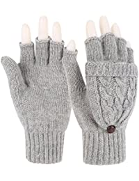 Women Winter Warm Wool Blend Knitted Convertible Gloves with Mitten Cover
