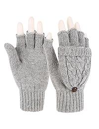 Novawo Fashion Style Women Winter Wool Blend Fingerless Convertible Gloves