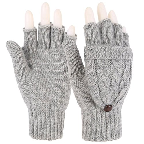 Novawo Women Winter Wool Blend Fingerless Convertible Gloves with Sturdy Chocolate Buttons