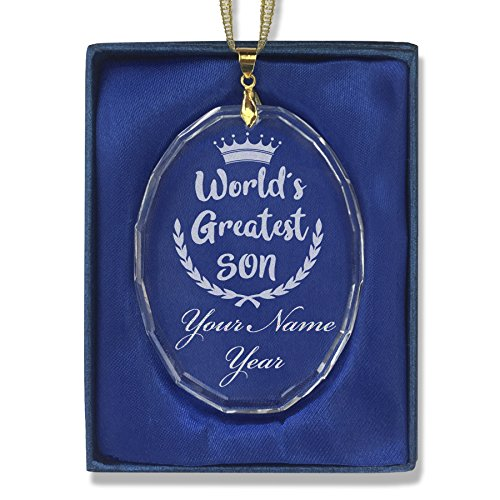 Oval Crystal Christmas Ornament - World's Greatest Son - Personalized Engraving Included by SkunkWerkz
