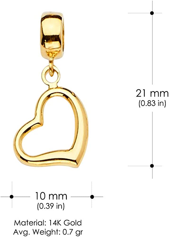 Ioka 14K Yellow Gold Open Heart Charm Pendant Mix and Match For Bracelet or Necklace or Chain