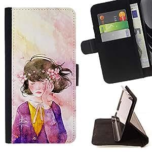 For Sony Xperia M5 E5603 E5606 E5653 Case , Guirnalda del Arte de la acuarela púrpura- la tarjeta de Crédito Slots PU Funda de cuero Monedero caso cubierta de piel