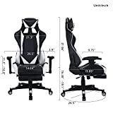 Zenith High Back PU Leather Swivel Gaming Chair with Adjustable Armrest Lumbar Support Headrest Footrest Racing Office Chair (white plus)