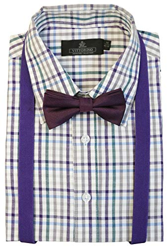 Vittorino Boys' Dress Shirt with Matching Bowtie and Suspenders Set, Purple Plaid, 7