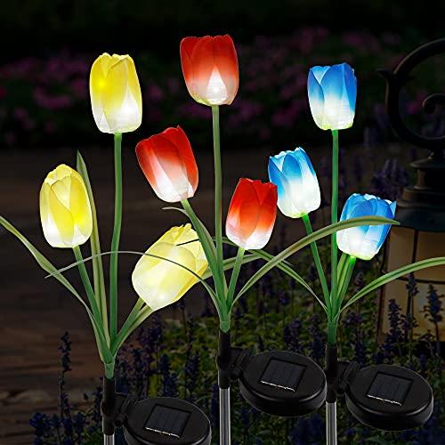 FORUP 3 Pack Solar Garden Stake Lights, Outdoor Solar Tulip Flower Lights with 9 Tulip Flowers, LED Tulip Solar Powered…