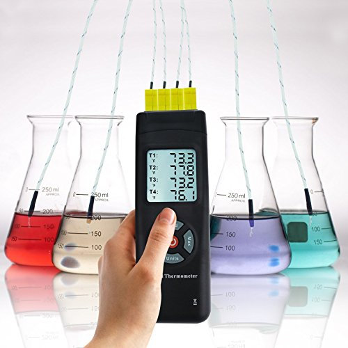 Digital 4 Channels K Type Thermocouple Thermometer with Metal & Bead Probes, Handheld with Backlight, High Temp Meter Tester Multi Measurement Instrument Tool, -50~700°C (-58~1292°F) by Gain Express (Image #2)