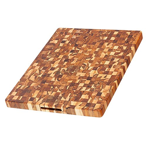 - Teak Cutting Board - Rectangle End Grain Butcher Block (24 x 18 x 1.5 in.) - By Teakhaus