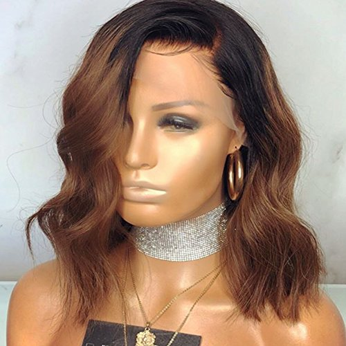 (Wowsexy Hair Ombre 1B/30 Wavy Short Bob Lace Front Human Hair Wigs for African American Women Brazilian Virgin Hair Two Tone Lace Wigs with Pre-plucked Hairline (16 inch Lace Front Wig, 1B30 Wavy) )