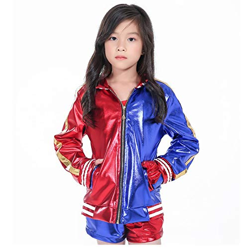 Hotcostyle Suicide Squad Halle Quinn Cosplay Costumes Set Clown Girl Coat T-Shirt Shorts golves 4pcs