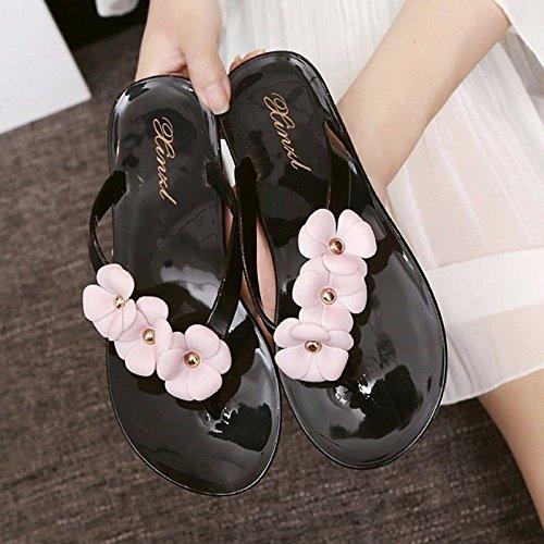 Dolce di di sandali prodotti italiana moda dei Nuovi flop infradito flip sandali fondo due a piatti Nero scarpe toe XZ usura fiori spiaggia piatto estate LIUXINDA da xaqHwCYta