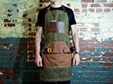 Green Canvas Apron for Serving, Painting, Grilling, Gardening, Woodworking, Handcrafted Waxed Canvas and Horween Full-Grain Leather Adjustable Work Apron with Pockets Monogrammed Vintage Gift