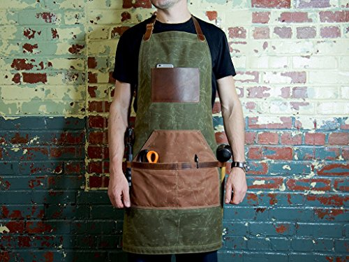 Green Canvas Apron for Serving, Painting, Grilling, Gardening, Woodworking, Handcrafted Waxed Canvas and Horween Full-Grain Leather Adjustable Work Apron with Pockets Monogrammed Vintage Gift by OleksynPrannyk