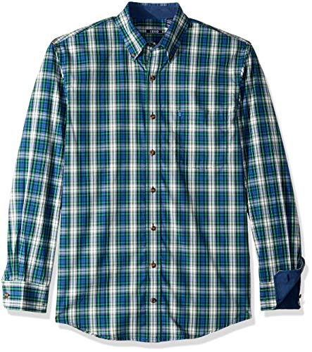 IZOD Men's Big and Tall Heritage Long Sleeve Button Down Tartan Shirt, Evergreen, 3X-Large