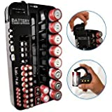 Battery Tester Caddy Organizer holds up to 72 batteries wall mount or counter top