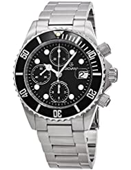 Grovana Diver Mens Black Face 42MM Chronograph Date Stainless Steel Mens Dive Watch 1571.6137