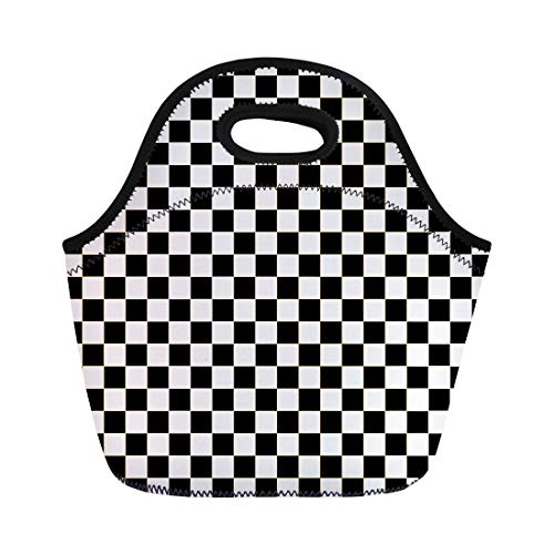 Semtomn Lunch Tote Bag Chequered Checkered Flag Racing White Race Auto Black Car Reusable Neoprene Insulated Thermal Outdoor Picnic Lunchbox for Men Women