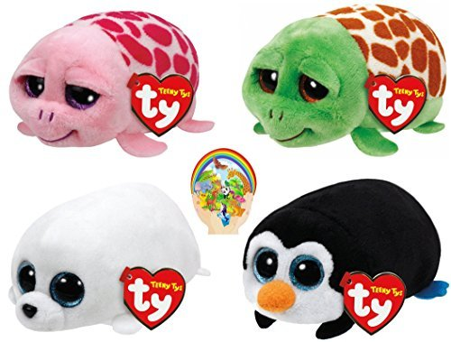 Teenys Ty Mini Marine Life Pocket Penguin, Slippery Seal, Turtles Shuffler Pink & Cruiser Set of 4 Friends with Bonus Animals Sticker