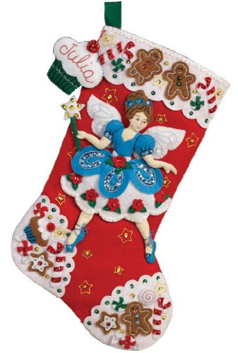 Fairy Applique - Bucilla Felt Applique Christmas Stocking Kit: Fairy Sweets